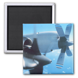 Impresión clásica de la fotografía del avión de la imán cuadrado