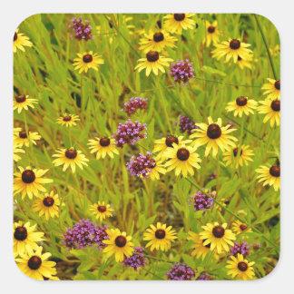 Impresión colorida del jardín de flores del pegatina cuadrada
