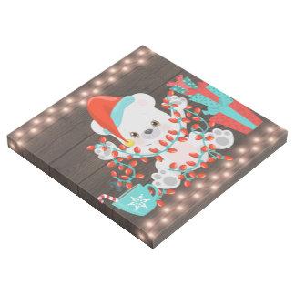 Impresión Con Bastidor Pequeño oso polar lindo con las luces de navidad