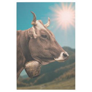 Impresión Con Bastidor Vaca alpina que lleva una campana