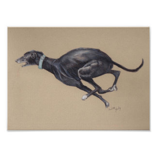 Impresión corriente negra del arte del perro del