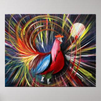 Impresión cósmica de la pintura del gallo de Lucas