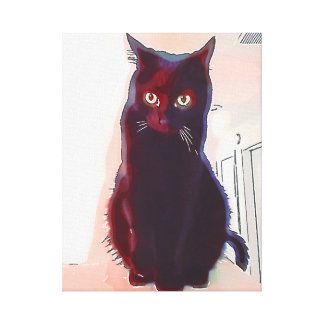 Impresión curiosa de la lona del gato negro