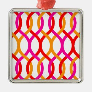 Impresión de cadena intrépida anaranjada rosada adorno navideño cuadrado de metal