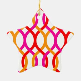Impresión de cadena intrépida anaranjada rosada adorno navideño de cerámica en forma de estrella