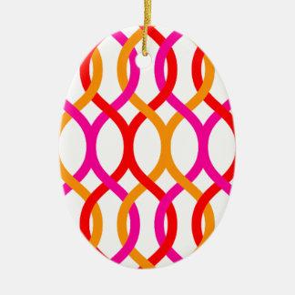 Impresión de cadena intrépida anaranjada rosada adorno navideño ovalado de cerámica