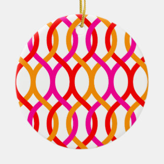 Impresión de cadena intrépida anaranjada rosada adorno navideño redondo de cerámica