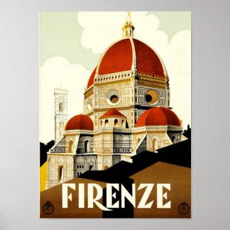 Póster Impresión de Firenze Italia del viaje del vintage