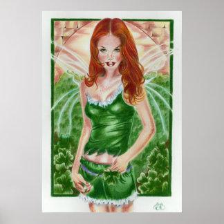 Impresión de hadas irlandesa del poster del trébol