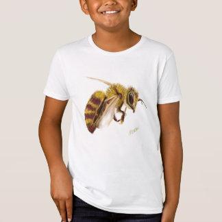 Impresión de la abeja en la camiseta orgánica de