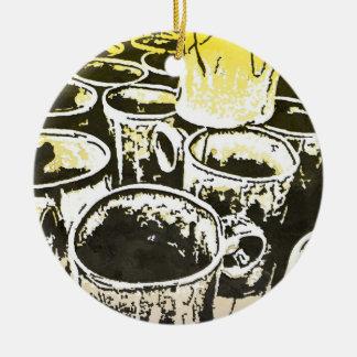 Impresión de la acuarela de las tazas de café del adorno redondo de cerámica