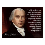 Impresión de la cita de la libertad de James Madis Poster