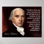 Impresión de la cita de la libertad de James Póster