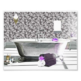 Impresión de la foto de la acuarela de la bañera