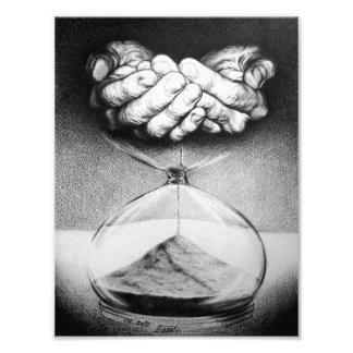 Impresión de la foto del dibujo de lápiz del reloj