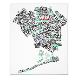 Impresión de la foto del mapa de la tipografía del