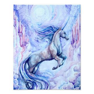Impresión de la foto del unicornio de la acuarela