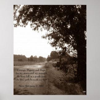 Impresión de la foto del valor, de la dignidad y póster