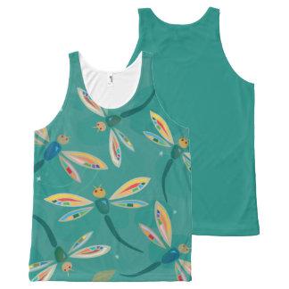 Impresión de la libélula de la turquesa camiseta de tirantes con estampado integral