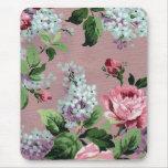 Impresión de la lila y del papel pintado del vinta alfombrillas de ratón