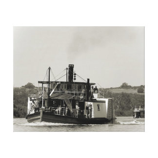 Impresión de la lona - barco de paleta el río