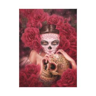Impresión de la lona de arte de Dia de los Muertos Lienzo Envuelto Para Galerias