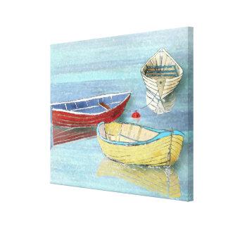 Impresión de la lona de los barcos del verano en lienzo
