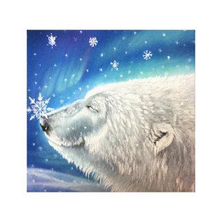 Impresión de la lona de los copos de nieve del oso