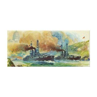 Impresión de la lona del acorazado del vintage WWI