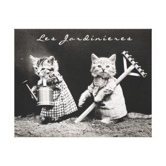 IMPRESIÓN DE LA LONA DEL CAT DEL VINTAGE, GATOS