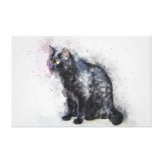 Impresión de la lona del gato negro del