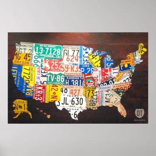 Impresión de la lona del mapa de la placa de Estad