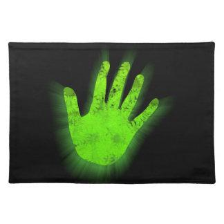 Impresión de la mano que brilla intensamente salvamanteles