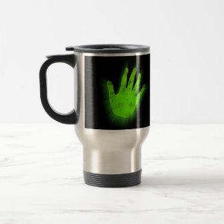 Impresión de la mano que brilla intensamente taza de viaje