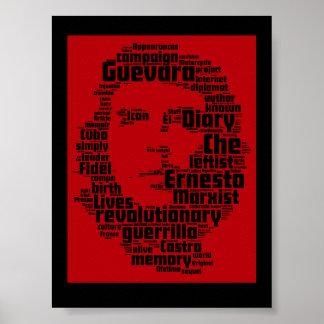 Impresión de la nube de la palabra de Che Guevara Póster
