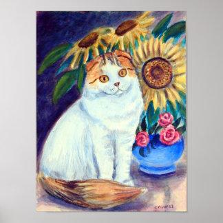 Impresión de la pared del gato del doblez del esco póster