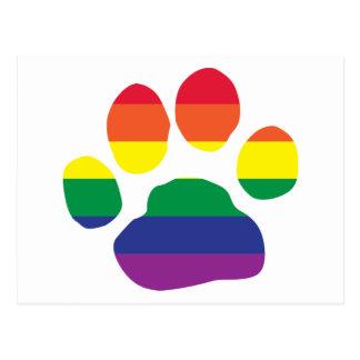 Impresión de la pata del orgullo gay tarjetas postales