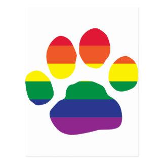 Impresión de la pata del orgullo gay postal