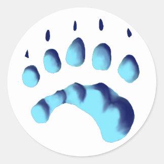 Impresión de la pata del oso polar pegatinas redondas