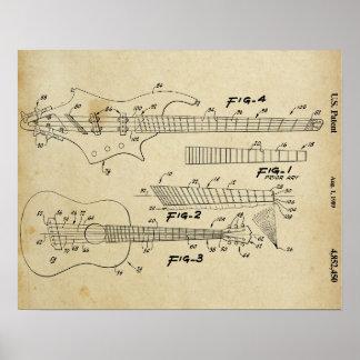Impresión de la patente de la guitarra del vintage