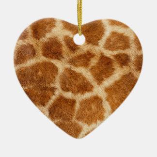 Impresión de la piel de la jirafa adorno navideño de cerámica en forma de corazón