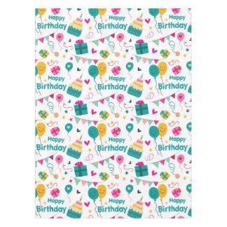 Impresión de la torta del feliz cumpleaños mantel