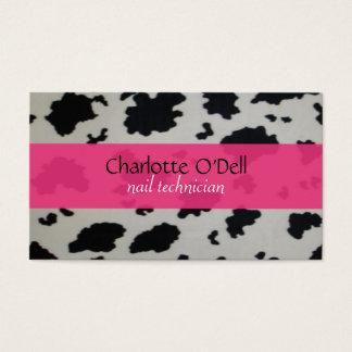 impresión de la vaca; rosa tarjeta de visita