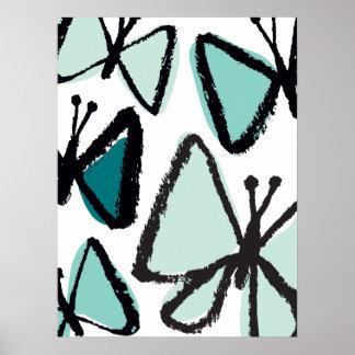 Impresión de las mariposas de la pincelada