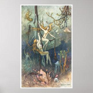 Impresión de las ninfas de mar de Warwick Goble Posters
