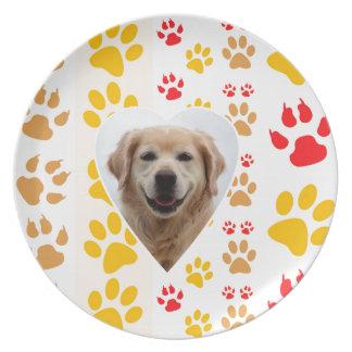 Impresión de las patas de los corazones del perro plato de comida