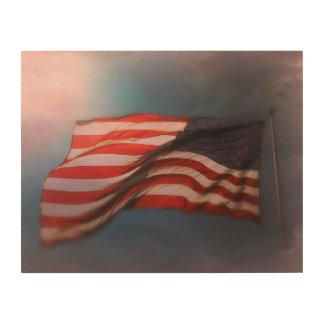 Impresión En Madera Impresión de madera Antiqued 14 x 11 de la bandera