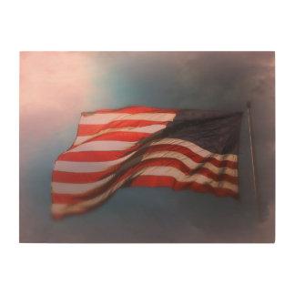 Impresión En Madera Impresión de madera Antiqued 24 x 18 de la bandera