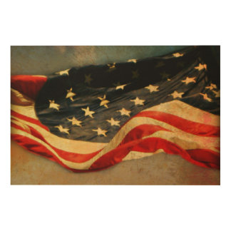 Impresión En Madera Impresión de madera Antiqued 36 x 24 de la bandera