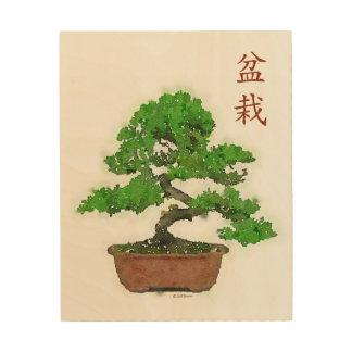 Impresión de madera: Árbol japonés de los bonsais